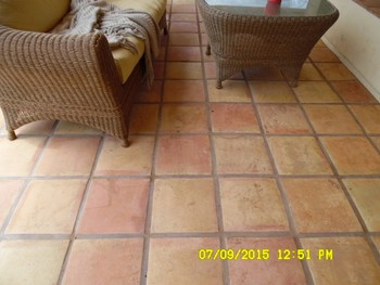 Exterior Saltillo Tile Cleaning/Color Enhancement/Sealer - 2800 sq. ft.